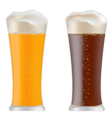 two glasses with dark and light beer