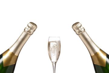 Champagnerflaschen und Glas