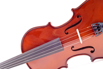 Violin in Angled Perspective on White