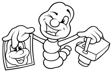Worm Photographer - Black and White Cartoon illustration