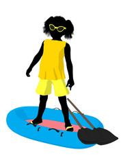 Beach Girl Silhouette Illustration