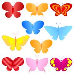 cartoon colorful butterflies set
