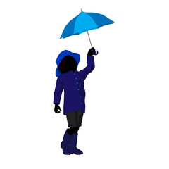 Rain Boyl Silhouette Illustration