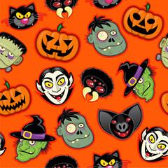 Halloween Characters vector pattern in orange background