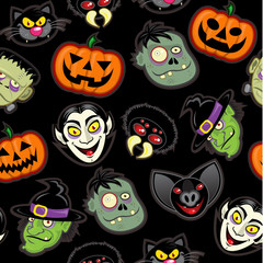 Halloween Characters vector pattern in black background
