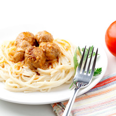 Spagetti and meat balls