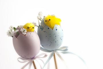 Uova pasquali con pulcini
