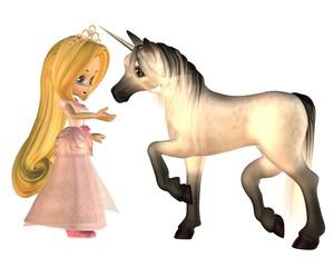 In de dag Pony Cute Toon Fairytale Princess and Unicorn
