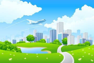 Wall Murals Airplanes, balloon Green City Landscape
