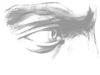 Pencil drawing of eye on a white background