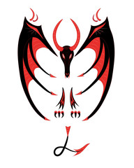 Red black dragon on a white background.