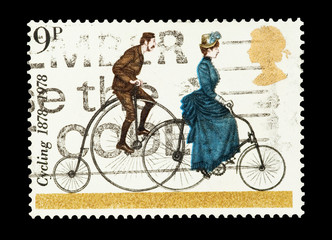 UK mail stamp celebrating the centenary of cycling