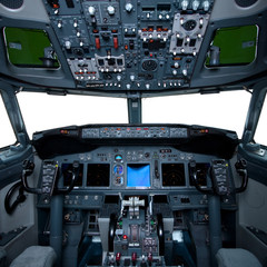 Boeing interior, cockpit view inside the airliner