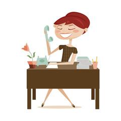 Retro woman working, vector illustration