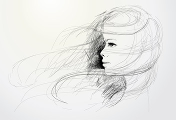 Young woman / realistic sketch (not auto-traced)