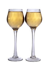Two wine glasses on white