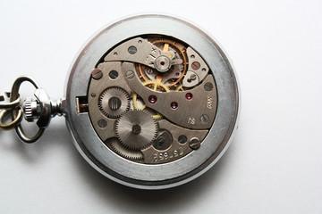 Old pocket clock mechanism
