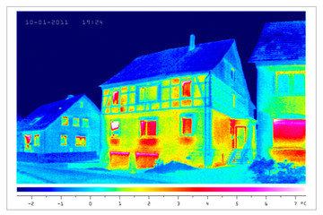 thermal imaging of old houses in a village