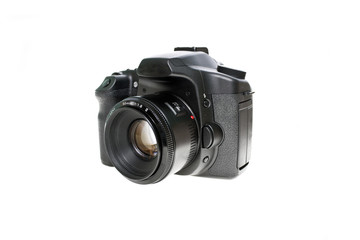 Digital photo camera with prime lens isolated