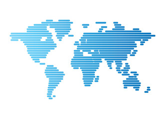 Poster Carte du monde World map of blue rounded lines