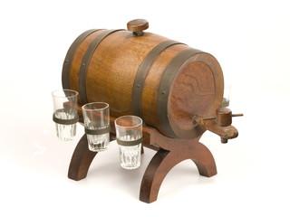 Antique little barrel and glasses