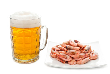 Beer and prawns