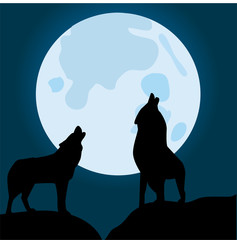 wolves howling at the moon