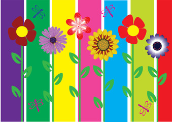 vector flowers and abstract background