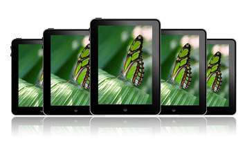 Tablet pc in a row