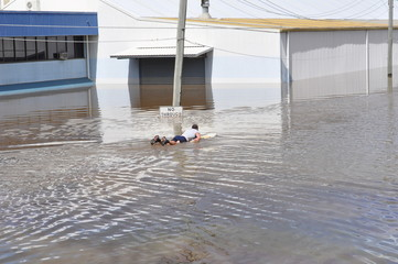 surfing in the floods
