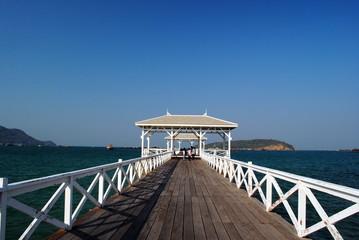 White bridge in the island.