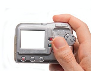 Hand holding digital camera