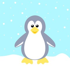Stock Vector of a Penguin on Blue Background