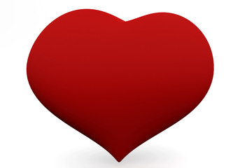 One big red heart isolated on white. 3D love concepts.