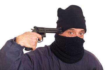 Thief Aiming a Gun against Himself