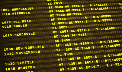 Flight schedule in French airport