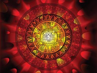 Maya calendar on a end of days background