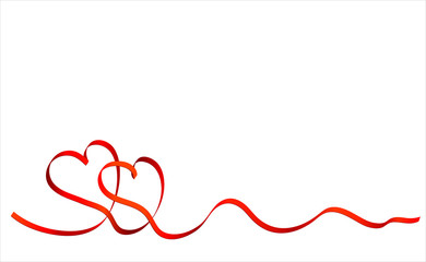Red tape in the form of two hearts for day of Valentine