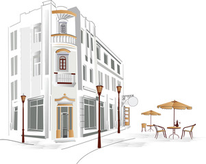 Papiers peints Drawn Street cafe Old part of the city with cafe