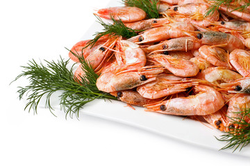 Prawns with vege Isolated on white background