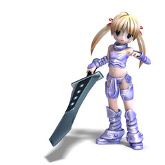 In de dag Ridders female manga paladin with huge sword. 3D rendering with