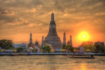 Wat Arun Thailand Temple in Sunset scene