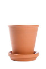 Terracotta Flower Pot Isolated on White