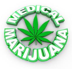 Medical Marijuana - Words and Leaf Icon