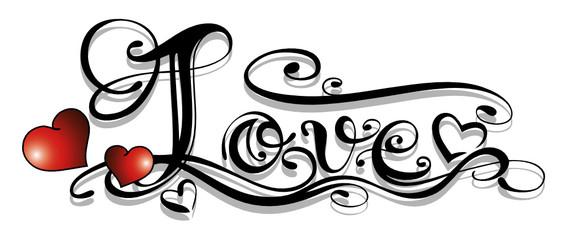 Liebe, love, Logo, filigran, Schnörkel, Tattoo, Herzen