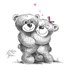 Couple of hugging teddy bears. Hand drawn illustration.