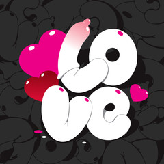 Valentine card with lettering LOVE on black patterned background