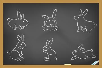 rabbits sketch drew on blackboard