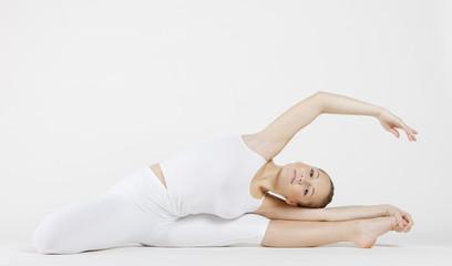 ballet dancer doing stretching