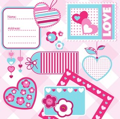 Valentine´s day scrapbook elements, vector